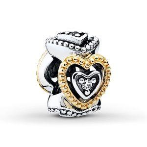 Pandora Two Tone Heart Spacers (2)
